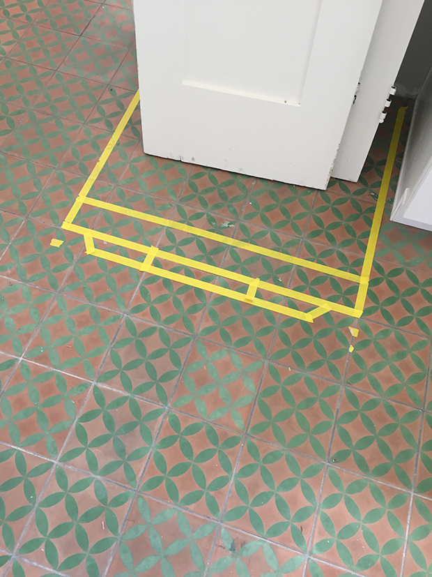 Measure the Refrigerator with tape on the floor