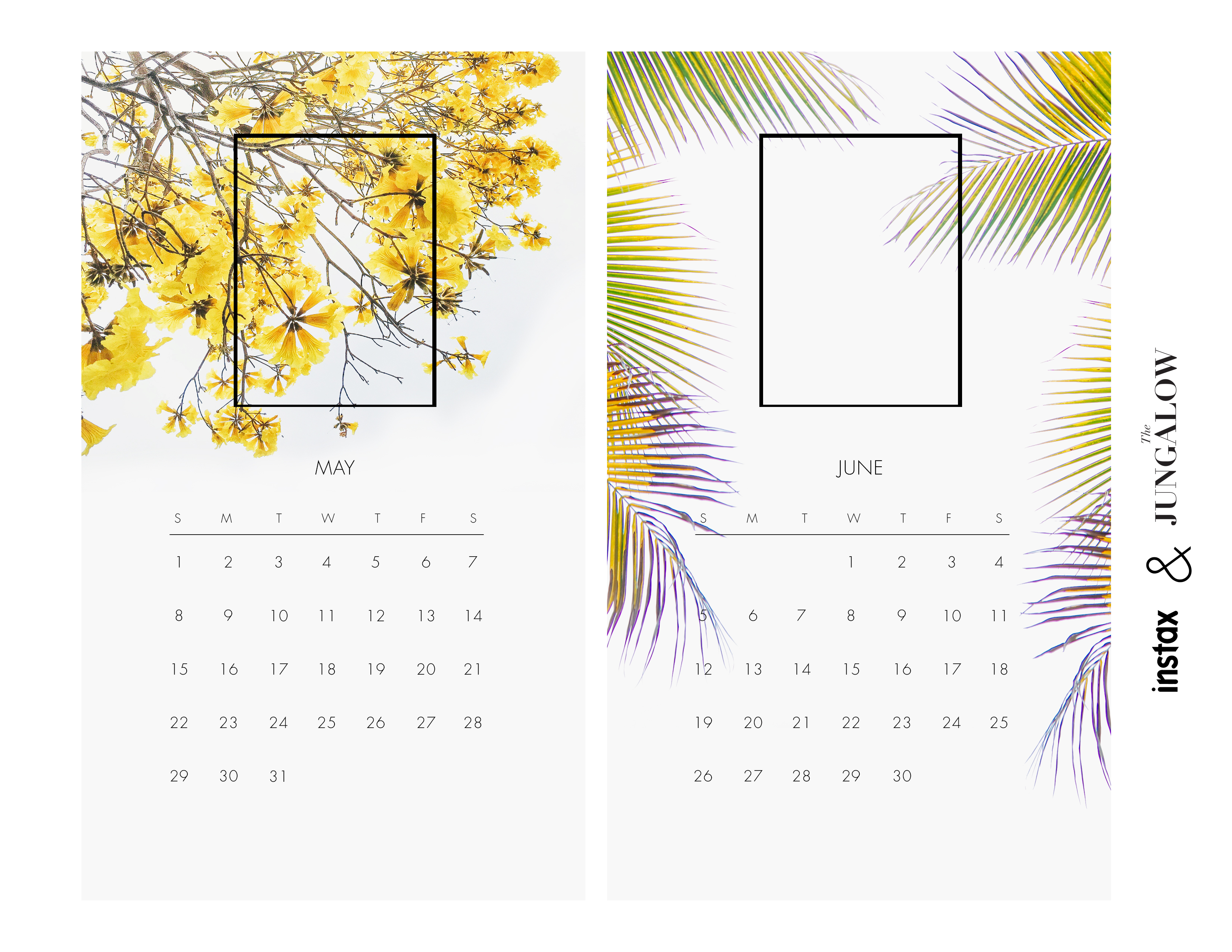 Free downloadable calendar--add your own Instax photos! | The Jungalow