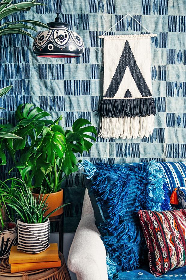 indigo-fabric-on-the-wall