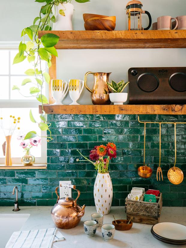 Justina Blakeney's boho kitchen with zellige tile backsplash
