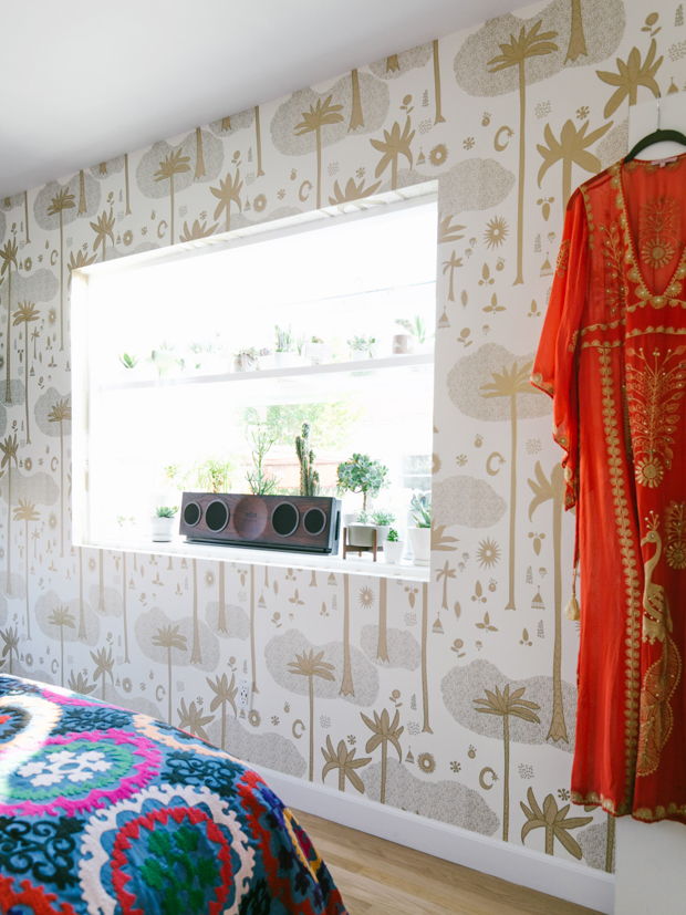 Cosmic Desert wallpaper by Justina Blakeney for Hygge and West and a garden window