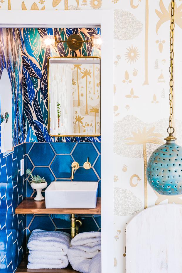 Justina Blakeney's Jungalow Bedroom featuring palm wallpaper
